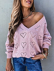 cheap -Women's Basic Hollow Out Solid Color Plain Pullover Acrylic Fibers Long Sleeve Loose Sweater Cardigans V Neck Fall Winter White Blushing Pink Fuchsia