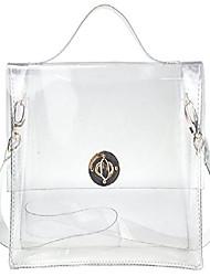 cheap -clear bag with turn lock closure cross body bag women's satchel transparent messenger shoulder handbag(red)
