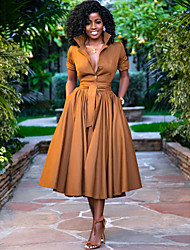 cheap -Women's A-Line Dress Midi Dress - Half Sleeve Solid Color Button Summer Shirt Collar Hot Casual Holiday Loose 2020 Army Green Orange S M L XL