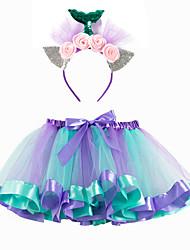 cheap -Mermaid Skirt Girls' Movie Cosplay Halloween New Year's Purple Pink Green Skirt Headwear Christmas Halloween Carnival Polyester / Cotton Polyester