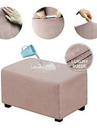 cheap -Ottoman Cover Suede Slipcovers Rectangle Footrest Sofa Slipcovers Footstool Protector Covers Stretch Fabric Storage Ottoman Covers High Spandex Suede Slipcover WaterProof