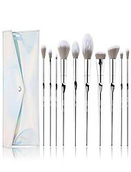 cheap -makeup brushes - 10pcs makeup brushes for foundation powder contour blend blush highlight eye shadows,kabuki brush with pu leather bag silver t261 bag