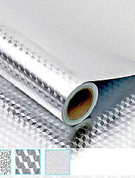 cheap -kitchen backsplash oil proof sticker wallpaper,self-adhesive aluminum foil heat resistant stainless steel contact sticker for countertop drawer liner shelf liner (15.7'' x 78.7'-3d cube