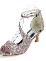 cheap -Women's Wedding Shoes Kitten Heel Open Toe Sexy Wedding Party & Evening Gleit Buckle Solid Colored White Light Purple Champagne