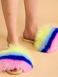 cheap -Women's Slippers & Flip-Flops Fuzzy Slippers Indoor Slippers Platform Open Toe Sweet Daily Outdoor Faux Fur Color Block Blue+Pink