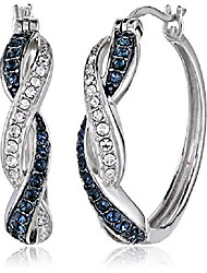 cheap -sterling silver twisted hoop earrings made with swarovski crystal