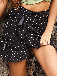 cheap -Women's Daily Wear Basic Skirts Floral Ruffle Bow Print Black Blue Red