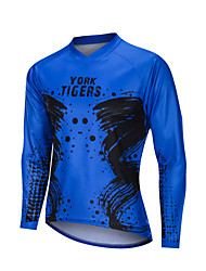 cheap -YORK TIGERS Men's Long Sleeve Cycling Jersey Downhill Jersey Black / Blue Bike Tee Tshirt Sports Clothing Apparel / Advanced / Micro-elastic