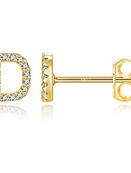 cheap -initial stud earrings for girls, s925 sterling silver post hypoallergenic 14k gold plated letter stud earrings 26 alphabet cz earrings jewelry gifts for kids little girls women sensitive ears d