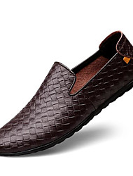 cheap -Men's Loafers & Slip-Ons Casual Daily Leather Non-slipping Black Blue Brown Spring Fall