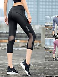 cheap -INFLACHI Women's High Waist Running Tights Leggings Running Capri Leggings Compression Pants Athletic 3/4 Tights Base Layer Capris Mesh Elastane Gym Workout Running Jogging Training Tummy Control