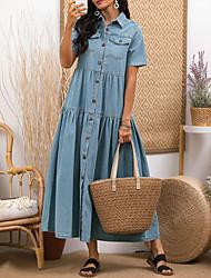 cheap -Women's Denim Shirt Dress Maxi long Dress - Short Sleeve Summer Casual 100% Cotton 2020 Light Blue S M L XL XXL 3XL