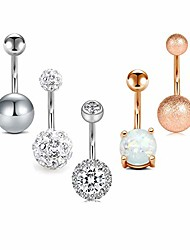 cheap -belly button rings surgical steel for women girls navel belly rings piercing ring jewelry pack kit 14g