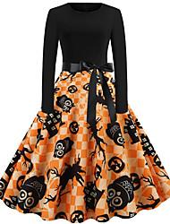 cheap -Women's Halloween A Line Dress Knee Length Dress Black Blue Red Fuchsia Orange Long Sleeve Owl Pumpkin Bat Print Ruched Patchwork Print Fall Round Neck Hot Vintage 2021 S M L XL XXL