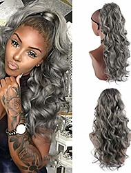 cheap -24inch body wave pontail heat resistant synthetic long loose wavy drawstring ponytail extension for black woman (gray)