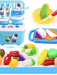 cheap -puzzle children's toys children play simulation kitchen cooking utensils kitchenware boy girl toys suit interactive recognition toy (color : blue)