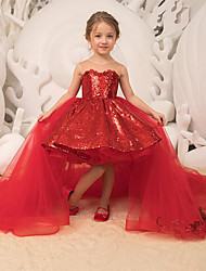cheap -Princess / Ball Gown Sweep / Brush Train Wedding / Party Flower Girl Dresses - Lace / Tulle Sleeveless Illusion Neck with Bow(s) / Tier / Paillette