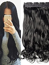 cheap -one piece clip in hair extensions curly long thick natural with 5 clips replaceable hairpiece for women add hair length and thickness - 17 inch jet black