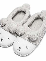 cheap -warm indoor slippers for women fleece plush bedroom winter boots grey low top 5.5-6.5 m us