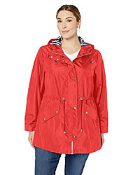 cheap -women's plus size zip front hooded anorak, red, 2x