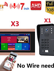 cheap -MOUNTAINONE SY710G008WF13 7 Inch Wireless WiFi Smart IP Video Door Phone Intercom System With One 1080P Wired Doorbell Camera And 3x Monitor Support Remote Unlock