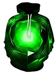 رخيصةأون -رجالي مناسب للبس اليومي البلوز هوديي البلوز 3D الرسم أساسي هوديس بلوزات أخضر
