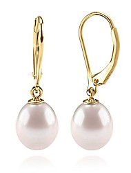 cheap -14k yellow gold plated freshwater cultured pearl earrings leverback dangle studs - handpicked aaa quality - 10mm