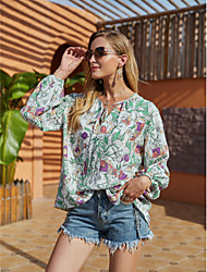 cheap -Women's Blouse Shirt Floral Flower Long Sleeve Lace up Print V Neck Tops Basic Basic Top Green