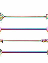 cheap -4pcs industrial barbell earring cartilage piercing 14g surgical steel arrow rainbow industrial piercing jewelry (4pcs rainbow)