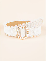 cheap -Women's Waist Belt Party Street Dailywear Daily White Belt Pure Color Work Imitation Pearl Basic Fall Winter