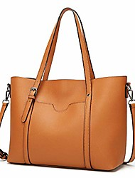 cheap -women top handle satchel handbags messenger shoulder bag for women oil wax leather tote (cross pattern-brown)