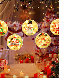 cheap -Christmas Santa Claus Elk Bell LED Fairy String Light Whole Set Led Light Ornament Snowman Xmas Warm White Decoration For Home New Year Party Curtain Decoration Lighting USB Power