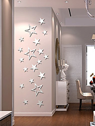 cheap -Five-Pointed Stars Wall Stickers Mirror Wall Stickers Decorative Wall Stickers Acrylic Home Decoration Wall Decal Wall Decoration 19 pcs