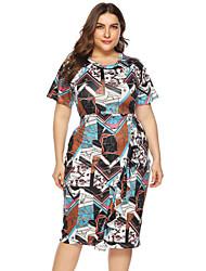 cheap -Women's A-Line Dress Knee Length Dress - Short Sleeve Print Patchwork Print Summer Vintage Going out Slim 2020 White L XL