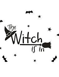 cheap -43*70cm Halloween Decorations Wall Stickers Witch  Self Adhesive Wall Stickers Creative Children's Room Wall Decoration