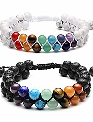 cheap -couple bracelet - natural lava stone & turquoise chakra bead bracelets for essential oil diffuser stress relief yoga beads 7 chakras anxiety bracelet for women men