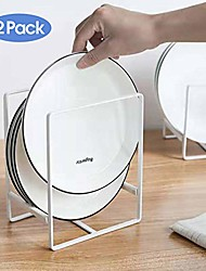 cheap -plate holders organizer for kitchen metal dish storage dying display rack for cabinet, counter, 2 pack (white,large)