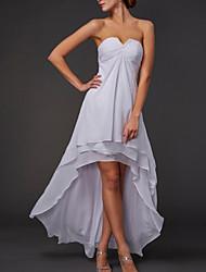 cheap -A-Line Minimalist Elegant Engagement Formal Evening Dress Strapless Sleeveless Asymmetrical Chiffon with Tier 2021