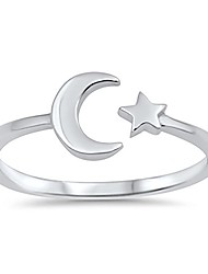 cheap -high polish open moon star ring new .925 sterling silver simple band size 13
