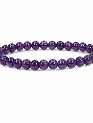 "cheap -natural aa grade amethyst gemstone 6mm round beads stretch bracelet 7"" unisex"