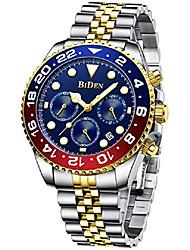 cheap -mens luxury wrist watches luminous chronograph analog quartz stainless steel fashion waterproof watch (blue)