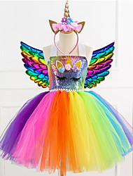 cheap -Unicorn Dress Wings Headband Girls' Movie Cosplay Dance Tight Tutus Vacation Dress Golden Blue Rainbow Dress Wings Headwear Christmas Halloween Carnival Polyester / Cotton Polyester