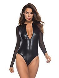 cheap -Women's Mesh Uniforms & Cheongsams Bodysuits Nightwear Solid Colored Black S M L