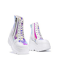 cheap -radio holographic platform ankle boots with chunky block heels for women - white size 7