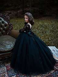 cheap -Princess / Ball Gown Sweep / Brush Train Wedding / Party Flower Girl Dresses - Lace / Tulle Long Sleeve Jewel Neck with Bow(s) / Pleats / Appliques