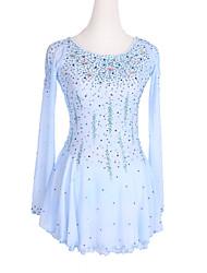 cheap -Figure Skating Dress Women's Girls' Ice Skating Dress Blue Glitter Patchwork Spandex High Elasticity Competition Skating Wear Crystal / Rhinestone Long Sleeve Ice Skating Winter Sports Figure Skating