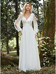 cheap -Women's A Line Dress Maxi long Dress White Long Sleeve Solid Color Lace Fall Spring V Neck Hot Elegant Formal 2021 S M L XL XXL 3XL 4XL