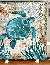 cheap -sea turtle fabric shower curtain, nautical blue map shower curtain navigation under the sea life coastal cloth shower curtain heavy weighted waterproof, Bathroom beach decorations, 72x72