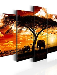cheap -5 Panel African Elephant Print Painting on Canvas Wall Decor Art Animal Picture for Living Room Landscape Sunset Artwork Framed Ready to Hang