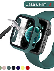 cheap -2in1 Full cover for Apple Watch Series 5 4 3 2 Matte Plastic Bumper Hard Frame Case with Glass Film for iWatch Screen Protector